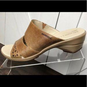 Merrell Air Cushion Leather Brown Slides